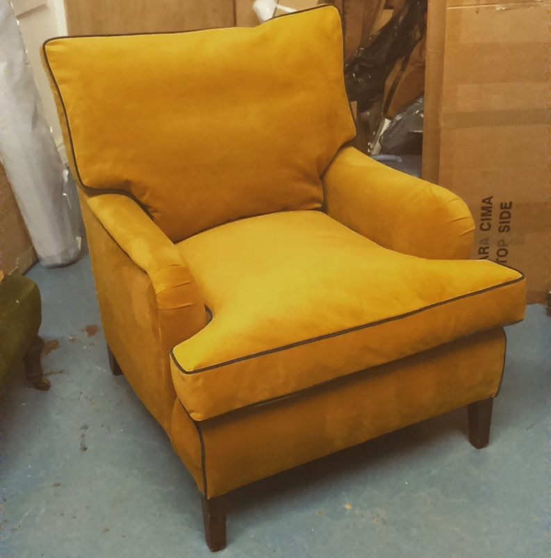 Yellow Velvet Armchair with Navy Piping